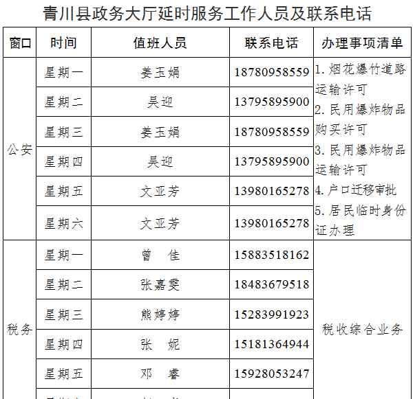 青川县人民政府 青川县人民政府政务服务中心关于实行延时服务的公告